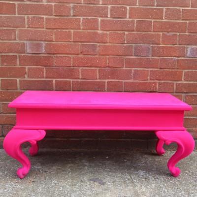 Pink Flocked Coffee Table - Medium