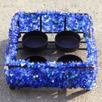 Cobalt Blue Square Beaded Tealight Holders