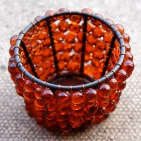 Dark Orange Beaded Tealight Holders