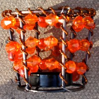 Orange Beaded Tealight Holders
