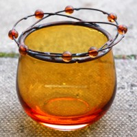 Yellow Glass Tealight Holders
