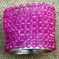 Purple Beaded Tealight Holders