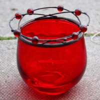 Red Glass Tealight Holders