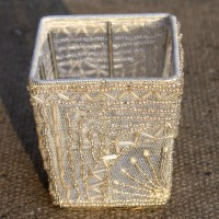 Square White Beaded Tealight Holders