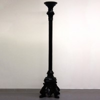 Black Lacquer Carved Wooden Candle Stand