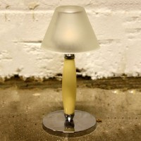 Ivory and Chrome Candle Holders with Frosted Glass Shade