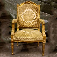 Gold Floral Armchair