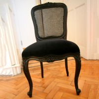Black Wicker and Velvet Chair