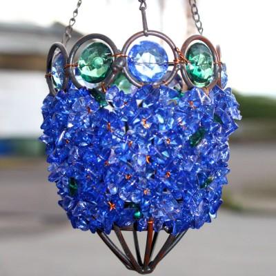 Blue Jewel Beaded Hanging Lantern