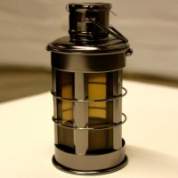 Cylindrical Charcoal Chrome Lantern