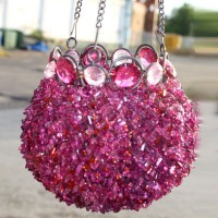 Pink Beaded Bowl Hanging Lantern