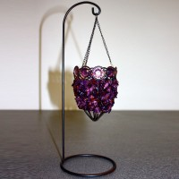 Purple Beaded Tealight Holder on Stand