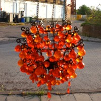 Red & Orange Beaded Hanging Lantern