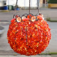 Red & Orange Beaded Bowl Hanging Lantern