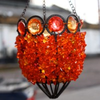 Red Jewel Beaded Hanging Lantern