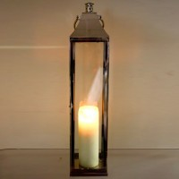 Tall Silver Metal Standing Lantern