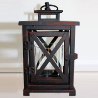 Rust Black Square Lantern