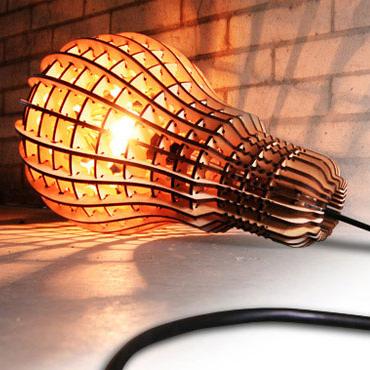 Wooden Lightbulb Lamp