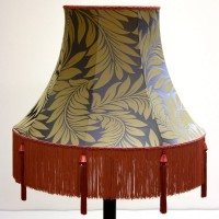 Foliage Pattern Lampshade with Pink Tassels