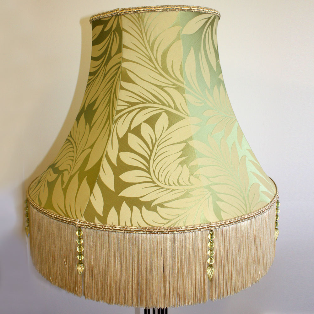 Green foliage pattern lampshade with cream tassels ten and a half green foliage pattern lampshade aloadofball Gallery