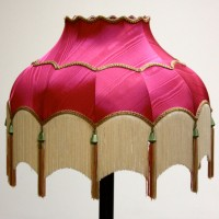 Pink Lampshade with White Tassels