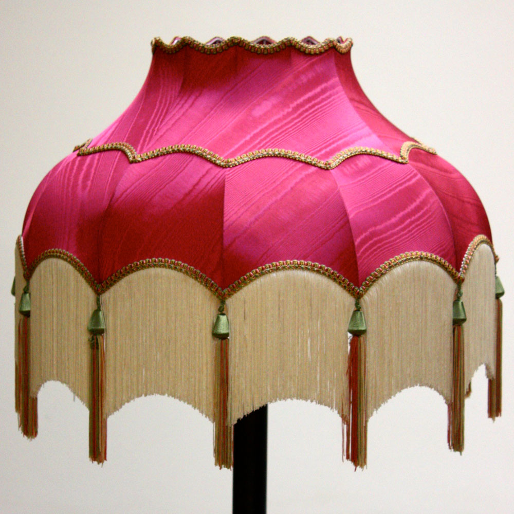 Pink lampshade with white tassels ten and a half thousand things pink lampshade with white tassels aloadofball Images