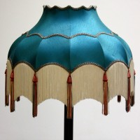 Turquoise Lampshade with White Tassels