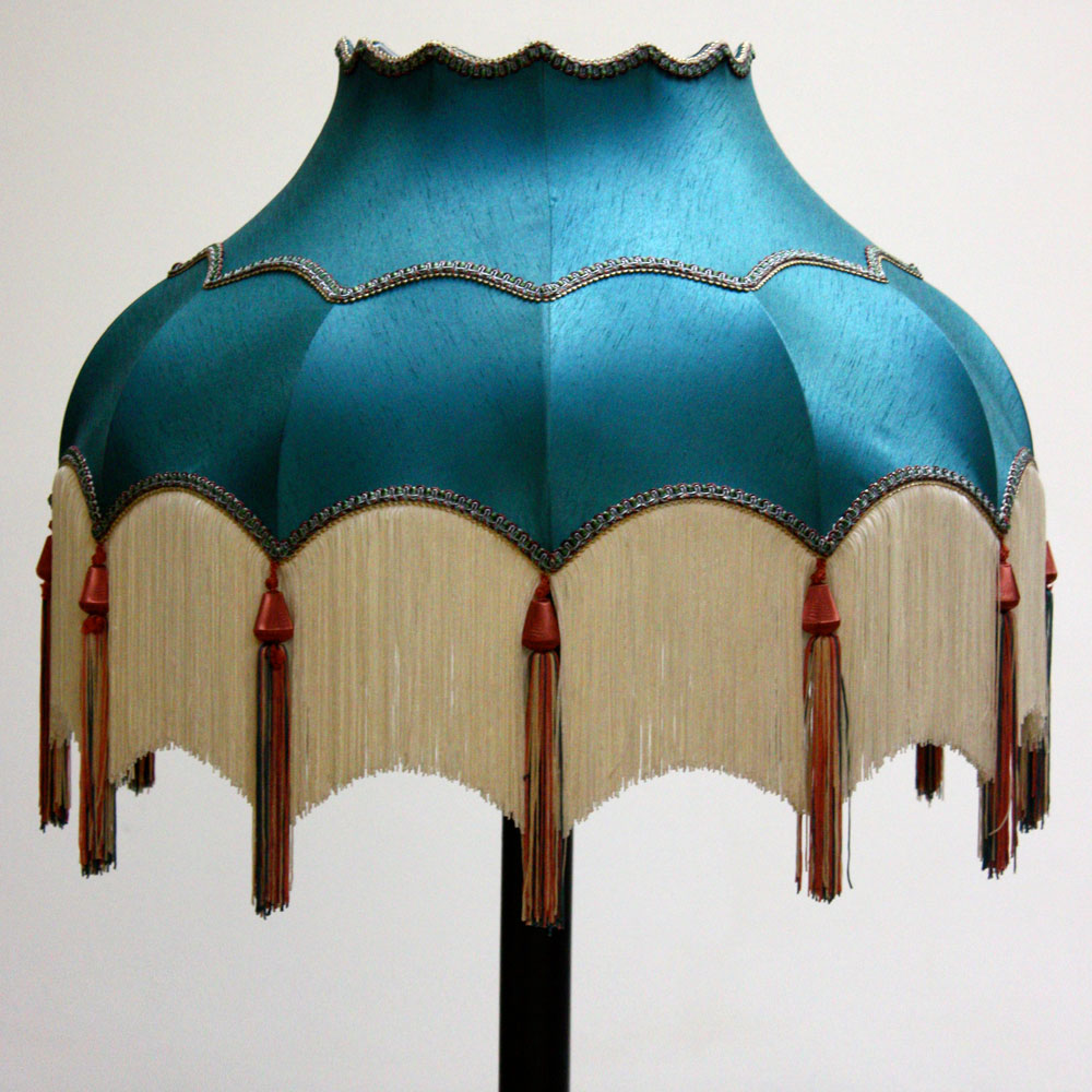 Tassel lamp shade garden view landscape turquoise lampshade with white tassels ten and a half aloadofball Images