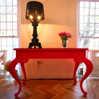 Pink Flocked Console Table - Large