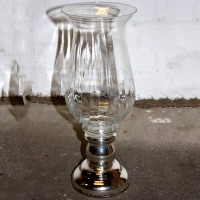 Glass Urn with Chrome Pedestal