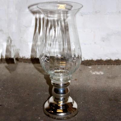 Glass Urn with Chrome Pedestal