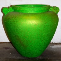 Green with Gold Speckle Plastic Pot