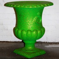 Green with Gold Speckle Plastic Urn