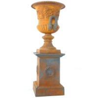Wrought Iron Urn On Plinth