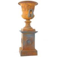 Wrought Iron Urn On Plinth