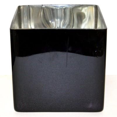 Black Cube Vase With Silver Interior