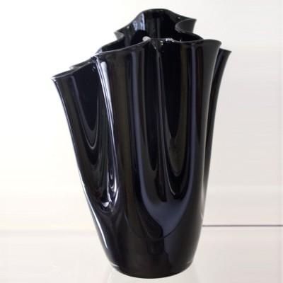 Black Glass Handkercheif Vase