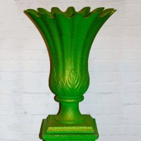 Green with Gold Speckle Plastic Floral Vase