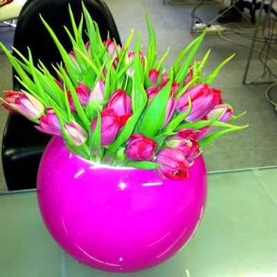 Pink Glass Globe Bowl