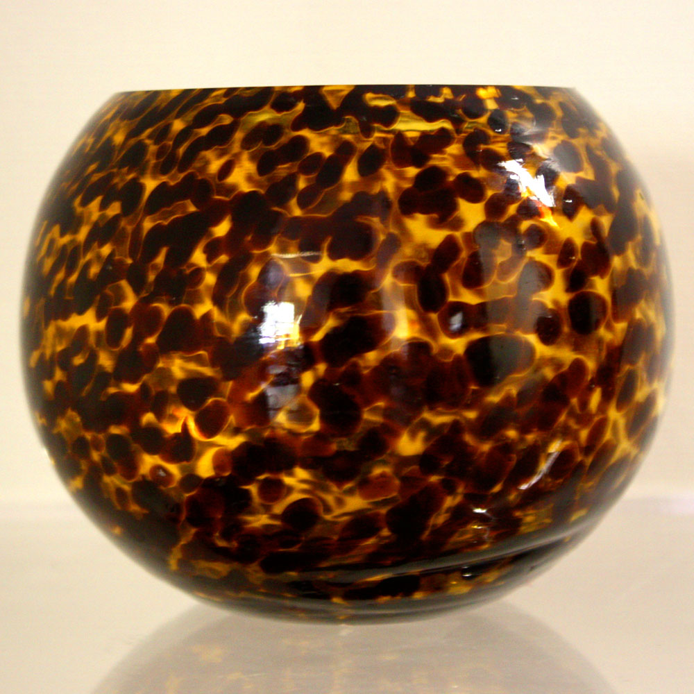 Globe Bowl Tortoiseshell Glass Vase Ten And A Half
