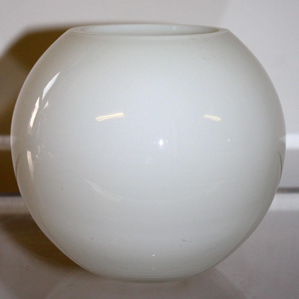 Globe Bowl White Glass Vase