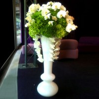 White Glass Vase With Rounded Base