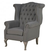 Grey Button Back Armchair